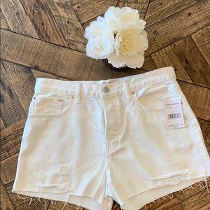 NWT Free People White Denim Frayed Shorts